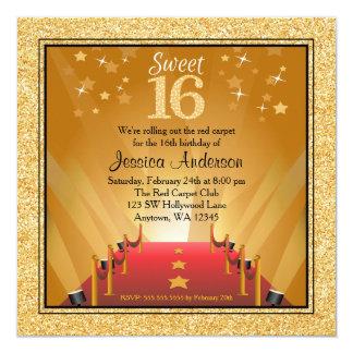 Red Carpet Hollywood Star Gold Sweet 16 Birthday 13 Cm X 13 Cm Square Invitation Card