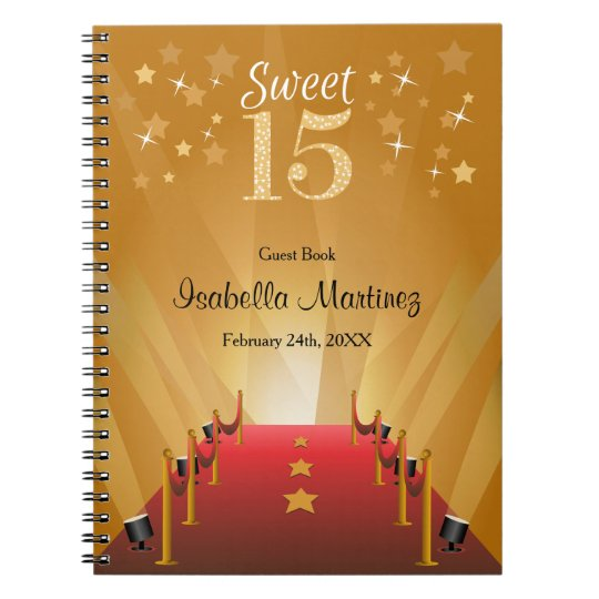 Red Carpet Hollywood Star Sweet 15 Guest Book