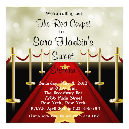 Red Carpet Hollywood Sweet 16 Birthday Invite 13 Cm X