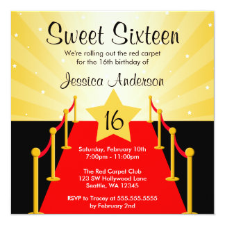 Red Carpet Hollywood Sweet 16 Birthday Party Card