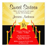 """Red Carpet Hollywood Sweet 16 Birthday Party 5.25"""" Square Invitation Card"""