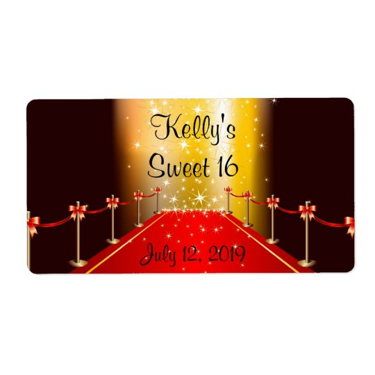 Red Carpet Hollywood Sweet 16 Custom Favour Label