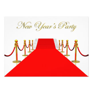 Red Carpet New Year s Party Custom Invites