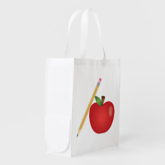 Red Cartoon Apple And Yellow Pencil Reusable Grocery Bag