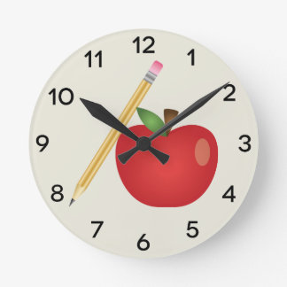 Red Cartoon Apple And Yellow Pencil Round Clock