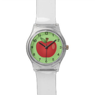 Red Cartoon Apple On Green Watch