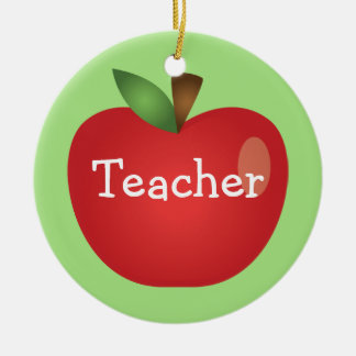Red Cartoon Apple On Green With Text Teacher Christmas Ornament