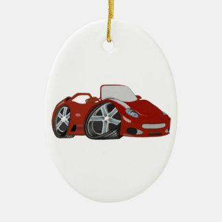 Red Cartoon Car Art Ceramic Oval Decoration