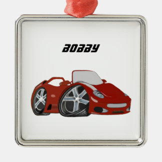 Red Cartoon Car Art Christmas Ornament