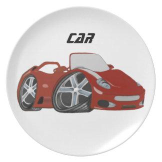 Red Cartoon Car Art Plate