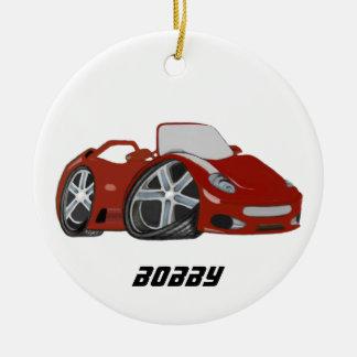 Red Cartoon Car Art Round Ceramic Decoration