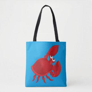 Red cartoon crab tote bag