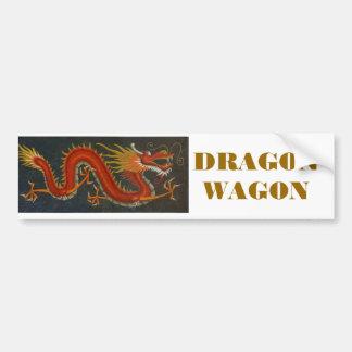 RED CARTOON DRAGON BUMPER STICKER