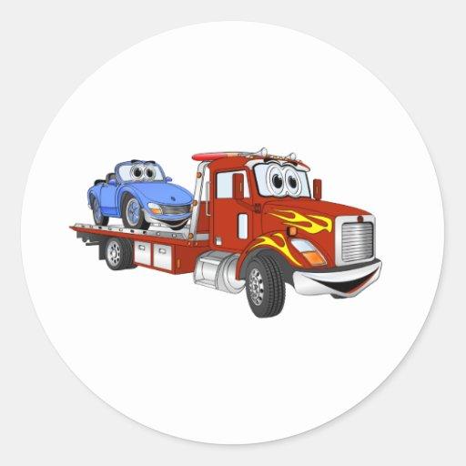 Red Cartoon Flatbed Tow Truck Round Sticker
