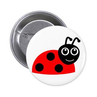 Red cartoon ladybug 6 cm round badge