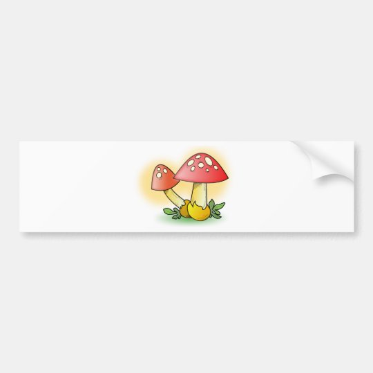Red Cartoon Mushroom with White Spots Bumper Sticker
