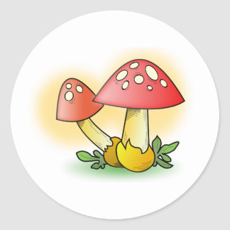 Red Cartoon Mushroom with White Spots Round Sticker