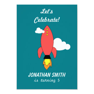 Red cartoon rocket 13 cm x 18 cm invitation card