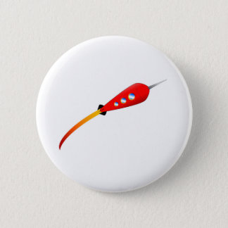 Red Cartoon Rocket 6 Cm Round Badge