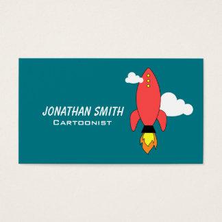 Red cartoon rocket business card
