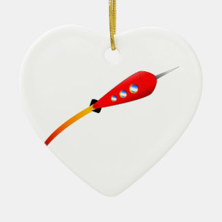Red Cartoon Rocket Ceramic Heart Decoration