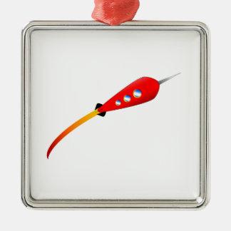 Red Cartoon Rocket Christmas Ornament