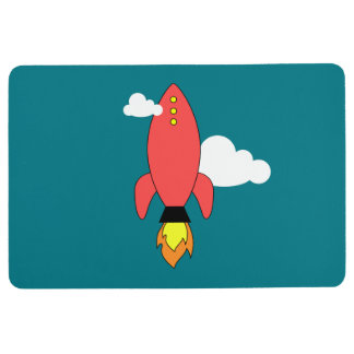 Red cartoon rocket floor mat