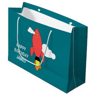 Red cartoon rocket large gift bag