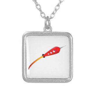 Red Cartoon Rocket Silver Plated Necklace
