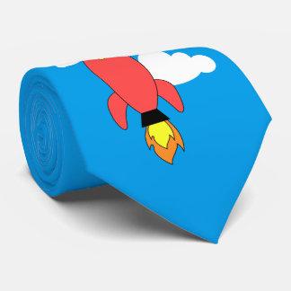 Red cartoon rocket tie