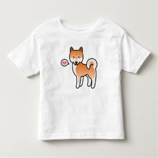 Red Cartoon Shiba Inu Love Toddler T-Shirt