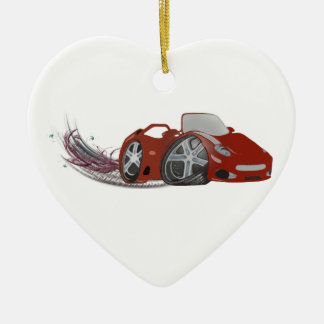 Red Cartoon Sports Car Art Ceramic Heart Decoration