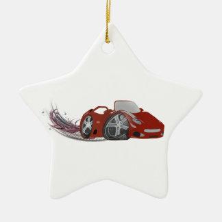 Red Cartoon Sports Car Art Christmas Ornament