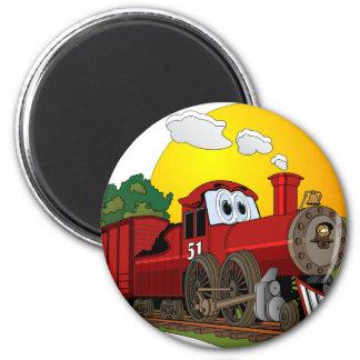 Red Cartoon Steam Engine 6 Cm Round Magnet