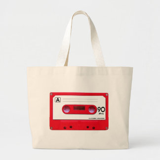 Red Cassette Tape Large Tote Bag