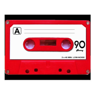 Red Cassette Tape Postcard