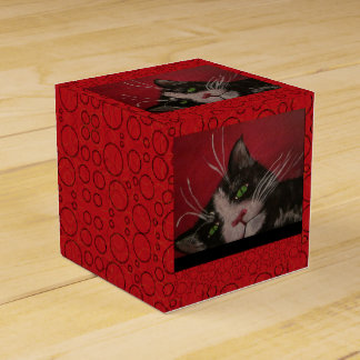 red cat gift box favour box