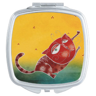 Red cat mirror for makeup
