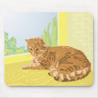 red cat mouse mat