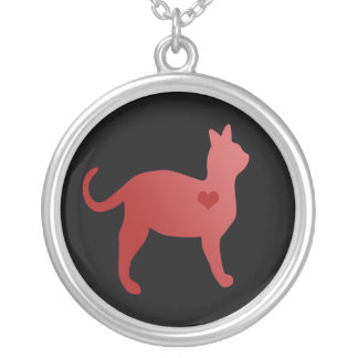 Red Cat Round Necklace