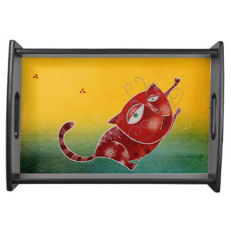 Red cat serving tray