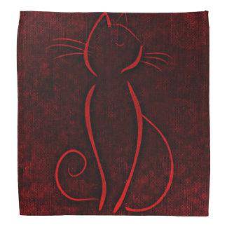 Red cat silhouette bandana