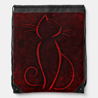 Red cat silhouette drawstring bag