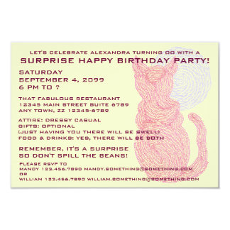 Red Cat & The Moon Surprise Birthday Party Invite