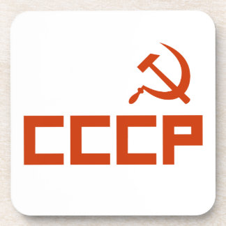 Red CCCP Hammer and Sickle Coaster