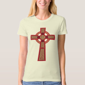 Red Celtic Cross Ladie's Fitted Organic T-Shirt