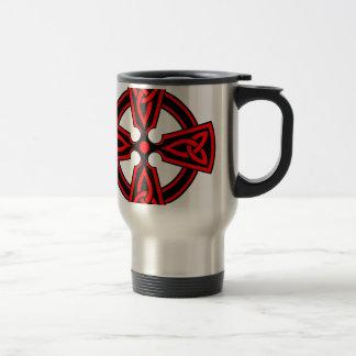 red celtic cross saxon viking wicca pagan travel mug