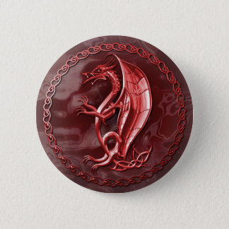 Red Celtic Dragon Button