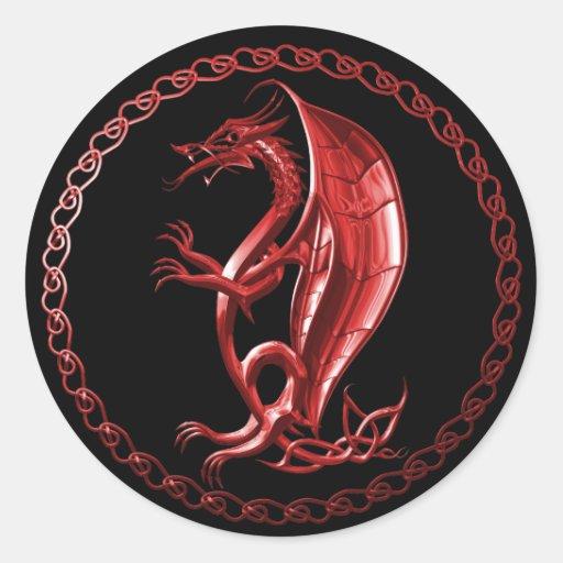 Red Celtic Dragon Sticker