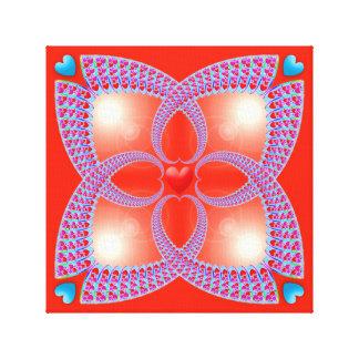 Red Celtic Heart Fractal Pattern Canvas Print